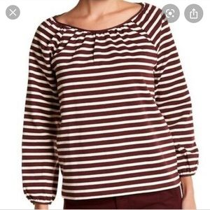 Jcrew Striped peasant top maroon white large